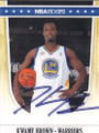 KWAME BROWN GOLDEN STATE WARRIORS AUTOGRAPHED BASKETBALL CARD #72314F