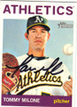 TOMMY MILONE OAKLAND A's AUTOGRAPHED BASEBALL CARD #73014L