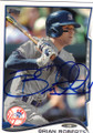 BRIAN ROBERTS NEW YORK YANKEES AUTOGRAPHED BASEBALL CARD #81114B
