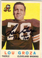 LOU GROZA CLEVELAND BROWNS AUTOGRAPHED VINTAGE FOOTBALL CARD #81914A