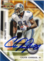 CALVIN JOHNSON JR DETROIT LIONS AUTOGRAPHED FOOTBALL CARD #82914A