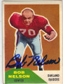 BOB NELSON OAKLAND RAIDERS AUTOGRAPHED VINTAGE FOOTBALL CARD #82914C