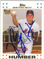 PHIL HUMBER NEW YORK METS AUTOGRAPHED ROOKIE BASEBALL CARD #90514K