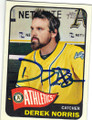 DEREK NORRIS OAKLAND ATHLETICS AUTOGRAPHED BASEBALL CARD #90614J