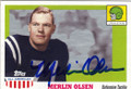 MERLIN OLSEN UTAH STATE AUTOGRAPHED FOOTBALL CARD #90914C