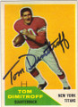 TOM DIMITROFF NEW YORK TITANS AUTOGRAPHED VINTAGE FOOTBALL CARD #91214i