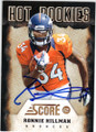 RONNIE HILLMAN DENVER BRONCOS AUTOGRAPHED ROOKIE FOOTBALL CARD #101114C