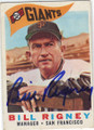 BILL RIGNEY SAN FRANCISCO GIANTS AUTOGRAPHED VINTAGE BASEBALL CARD #101214H