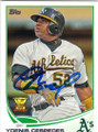 YOENIS CESPEDES OAKLAND ATHLETICS AUTOGRAPHED BASEBALL CARD #101414H