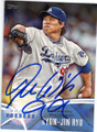 HYUN-JIN RYU LOS ANGELES DODGERS AUTOGRAPHED BASEBALL CARD #101614i