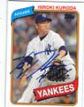 HIROKI KURODA NEW YORK YANKEES AUTOGRAPHED BASEBALL CARD #102014C