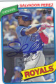 SALVADOR PEREZ KANSAS CITY ROYALS AUTOGRAPHED BASEBALL CARD #102014F