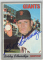 BOBBY ETHERIDGE SAN FRANCISCO GIANTS AUTOGRAPHED VINTAGE BASEBALL CARD #102114K