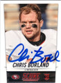 CHRIS BORLAND SAN FRANCISCO 49ers AUTOGRAPHED ROOKIE FOOTBALL CARD #102114P