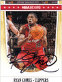 RYAN GOMES LOS ANGELES CLIPPERS AUTOGRAPHED BASKETBALL CARD #102214G