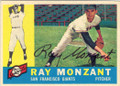 RAY MONZANT SAN FRANCISCO GIANTS AUTOGRAPHED VINTAGE BASEBALL CARD #102214Q