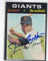 JIM HART SAN FRANCISCO GIANTS AUTOGRAPHED VINTAGE BASEBALL CARD #102314S