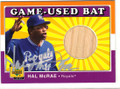 HAL McRAE KANSAS CITY ROYALS AUTOGRAPHED PIECE OF GAME-USED BAT BASEBALL CARD #102414H