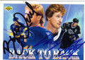 BRETT HULL AND WAYNE GRETZKY ST LOUIS BLUES & LOS ANGELES KINGS DOUBLE AUTOGRAPHED HOCKEY CARD #102514J