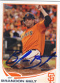BRANDON BELT SAN FRANCISCO GIANTS AUTOGRAPHED BASEBALL CARD #110814A