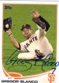 GREGOR BLANCO SAN FRANCISCO GIANTS AUTOGRAPHED BASEBALL CARD #110814F