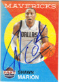 SHAWN MARION DALLAS MAVERICKS AUTOGRAPHED BASKETBALL CARD #111014F