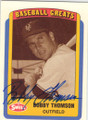 BOBBY THOMSON NEW YORK GIANTS AUTOGRAPHED GASEBALL CARD #111114B