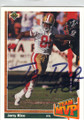 JERRY RICE SAN FRANCISCO 49ers AUTOGRAPHED FOOTBALL CARD #111114J