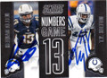 KEENAL ALLEN & T.Y, HILTON SAN DIEGO CHARGERS AND INDIANAPOLIS COLTS DOUBLE AUTOGRAPHED FOOTBALL CARD #112214J