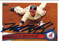 MICHAEL BRANTLEY CLEVELAND INDIANS AUTOGRAPHED BASEBALL CARD #112314i