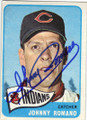 JOHNNY ROMANO CLEVELAND INDIANS AUTOGRAPHED VINTAGE BASEBALL CARD #112414B