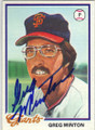 GREG MINTON SAN FRANCISCO GIANTS AUTOGRAPHED VINTAGE BASEBALL CARD #113014E