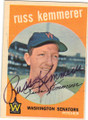 RUSS KEMMERER WASHINGTON SENATORS AUTOGRAPHED VINTAGE BASEBALL CARD #120114O