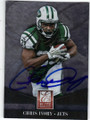 CHRIS IVORY NEW YORK JETS AUTOGRAPHED FOOTBALL CARD #120514K
