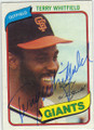TERRY WHITFIELD SAN FRANCISCO GIANTS AUTOGRAPHED VINTAGE BASEBALL CARD #120614E