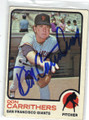 DON CARRITHERS SAN FRANCISCO GIANTS AUTOGRAPHED VINTAGE BASEBALL CARD #120614G
