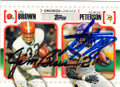 JIM BROWN & ADRIAN PETERSON CLEVELAND BROWNS AND MINNESOTA VIKINGS DOUBLE AUTOGRAPHED FOOTBALL CARD #120714E