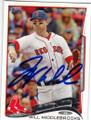 WILL MIDDLEBROOKS BOSTON RED SOX AUTOGRAPHED BASEBALL CARD #121314J