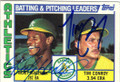 RICKEY HENDERSON & TIM CONROY OAKLAND ATHLETICS DOUBLE AUTOGRAPHED VINTAGE BASEBALL CARD #121814i