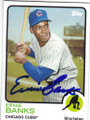 ERNIE BANKS CHICAGO CUBS AUTOGRAPHED BASEBALL CARD #122914G