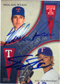 NOLAN RYAN & YU DARVISH TEXAS RANGERS DOUBLE AUTOGRAPHED BASEBALL CARD #11115L