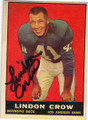 LINDON CROW LOS ANGELES RAMS AUTOGRAPHED VINTAGE FOOTBALL CARD #11115O