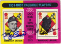 YOGI BERRA & ROY CAMPANELLA NEW YORK YANKEES AND BROOKLYN DODGERS DOUBLE AUTOGRAPHED VINTAGE BASEBALL CARD #11315B