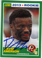 DAVID AMERSON WASHINGTON REDSKINS AUTOGRAPHED ROOKIE FOOTBALL CARD #11315H