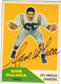 SAM DeLUCA LOS ANGELES CHARGERS AUTOGRAPHED VINTAGE FOOTBALL CARD #11315J