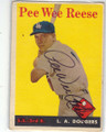 PEE WEE REESE LOS ANGELES DODGERS AUTOGRAPHED VINTAGE BASEBALL CARD #12115M