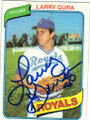 LARRY GURA KANSAS CITY ROYALS AUTOGRAPHED VINTAGE BASEBALL CARD #12215N