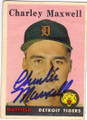 CHARLEY MAXWELL DETROIT TIGERS AUTOGRAPHED VINTAGE BASEBALL CARD #12715L