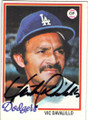 VIC DAVALILLO LOS ANGELES DODGERS AUTOGRAPHED VINTAGE BASEBALL CARD #21015A
