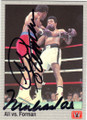 MUHAMMAD ALI & GEORGE FOREMAN DOUBLE AUTOGRAPHED BOXING CARD #22115C